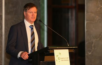 Tennis Australia president Steve Healy speaks during the Davis Cup World Cup Play-off official dinner on 14 September 2016 in Sydney; Getty Images
