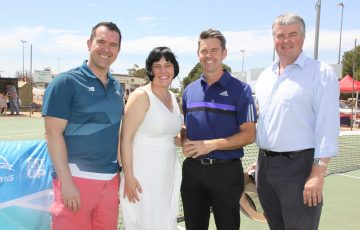 L-R: Tennis SA CEO, Steven Baldas, Leesa Vlahos MP, Todd Woodbridge and Steven Griffiths MP