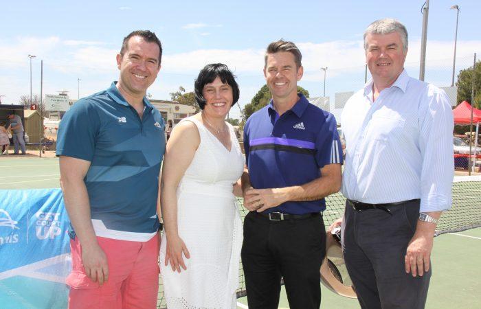 L-R: Tennis SA CEO, Steven Baldas, Leesa Vlahos MP, Todd Woodbridge and Steven Griffiths MP