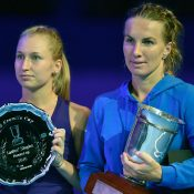 Daria Gavrilova (L) and Svetlana Kuznetsova pose with their trophies after the WTA Kremlin Cup final of 2016; Getty Images