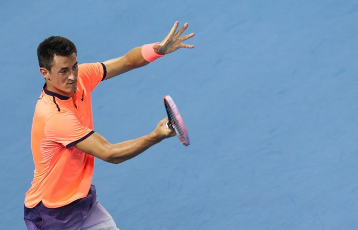 Bernard Tomic in action during his quarterfinal loss to Thomaz Bellucci in Shenzhen, China; photo credit Shenzhen Open