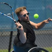 Dylan Alcott hits at Melbourne Park; Getty Images