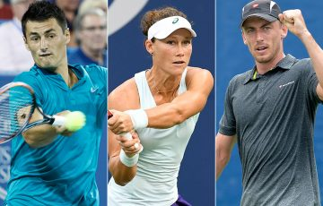 (L-R) Bernard Tomic, Sam Stosur and John Millman will contest the Brisbane International in 2017; Getty Images