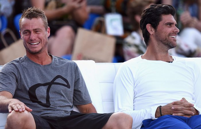 Lleyton Hewitt (L) and Mark Philippoussis; Getty Images
