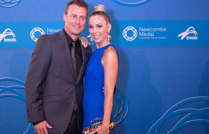 Australian Davis Cup captain and former world No.1 Lleyton Hewitt with wife Bec; photo credit Fiona Hamilton