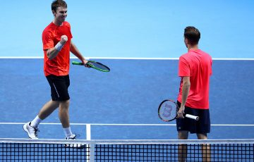 John Peers (L) and Henri Kontinen celebrate their semifinal victory over the Bryan brothers at the ATP Finals in London; Getty Images