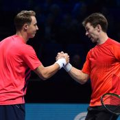 John Peers (R) and Henri Kontinen are undefeated after the round-robin stage of the 2016 World Tour Finals in London; Getty Images