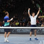 John Peers (R) and Henri Kontinen celebrate their victory in the Paris Masters final; Getty Images