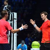 John Peers (R) and Henri Kontinen celebrate their victory over Raven Klaasen and Rajeev Ram at the ATP Finals in London; Getty Images