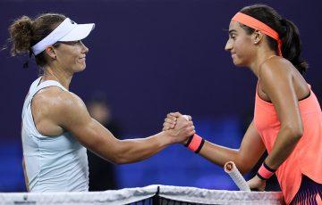 Sam Stosur (L) shakes hands with Caroline Garcia after losing their round-robin match in Zhuhai; photo credit 2016 WTA Elite Trophy Zhuhai
