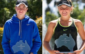 Amor Jasika (L) and Charlotte Kempenaers-Pocz won the 12/u Australian titles at Melbourne Park; Getty Images