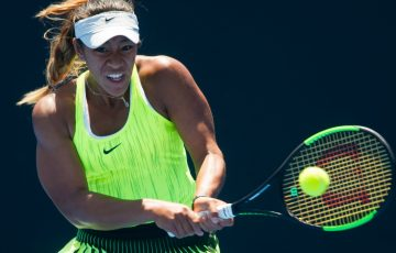 Destanee Aiava in action during the final of the girls' 18/u Australian Championships at Melbourne Park; Elizabeth Xue Bai