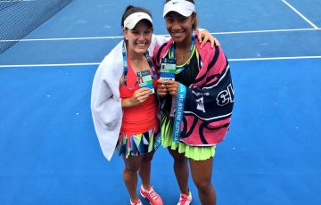 Destanee Aiava (R) and Alicia Smith won a wildcard into the main draw of the Australian Open 2017 women's doubles event; Tennis Australia