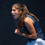 Jaimee Fourlis in action during the Australian Open 2017 Play-off final at Melbourne Park; Elizabeth Xue Bai