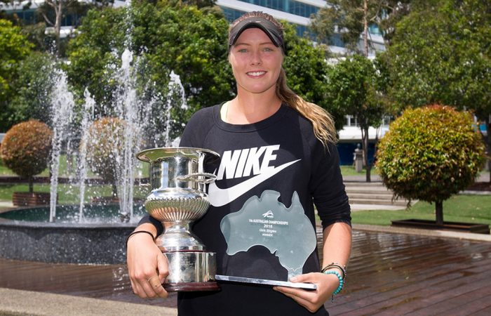 Olivia Gadecki poses with her trophy after winning the 14/u Australian Championships; Elizabeth Xue Bai