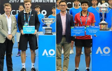 AO Asia-Pacific Wildcard Play-off winners Denis Istomin (L) and Luksika Kumkhum; photo credit Zihao Qiu