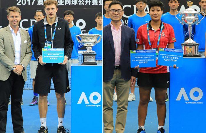 AO Asia-Pacific Wildcard Play-off winners Denis Istomin (L) and Luksika Kumkhum; photo credit Zihao Qiu