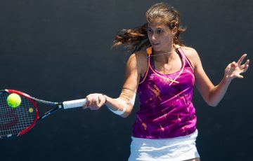 Jaimee Fourlis in action during the semifinals of the girls' 18/u Australian Championships at Melbourne Park; Elizabeth Xue Bai