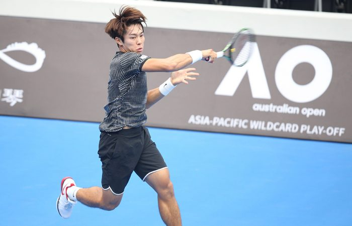Duckhee Lee in action at the AO Asia-Pacific Wildcard Play-off in Zhuhai, China; photo credit Subing Li