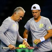Wally Masur (L) and Lleyton Hewitt; Getty Images