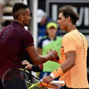 Rafael Nadal (R) shakes hands with Nick Kyrgios after winning their last meeting in Rome 2016; Getty Images