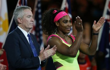 Tennis Australia CEO Craig Tiley (L) with Serena Williams; Getty Images
