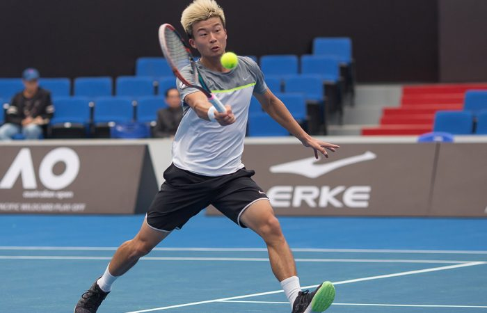 Wu Di in action during the quarterfinals of the AO Asia-Pacific Wildcard Play-off in Zhuhai; photo credit Zihao Qiu