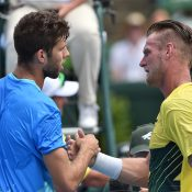 Sam Groth congratulates Jiri Vesely after his win. Photo: Getty Images
