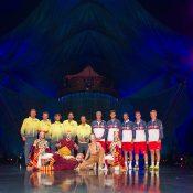 The two teams strike a pose at Cirque du Soleil. Photo: Elizabeth Xue Bai
