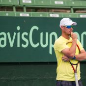 Lleyton Hewitt watches on during Wednesday practice. Photo: Elizabeth Xue Bai