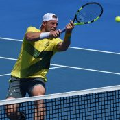 Groth started strongly, but went down in three sets. Photo: Getty Images