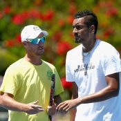 Lleyton Hewitt and Nick Kyrgios talk during Thursday practice. Photo: Getty ImagesPhoto: Getty Images