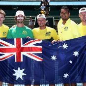 A winning team from the first round tie. Photo: Getty Images