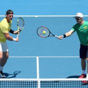 Sam Groth and John Peers prepare for Saturday's doubles. Photo: Getty ImagesPhoto: Getty Images