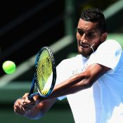 Nick Kyrgios out on the practice court. Photo: Getty ImagesPhoto: Getty Images