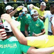 The Holy Grail becomes a Powerade shower. Photo: Getty Images