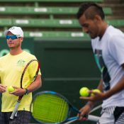Lleyton Hewitt and Nick Kyrgios during Wednesday practice. Photo: Elizabeth Xue Bai