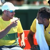 There was a relaxed atmosphere between Nick Kyrgios and Lleyton Hewitt during the match. Photo: Getty Images