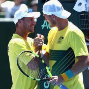 Sam Groth celebrates with Lleyton Hewitt. Photo: Getty Images