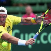 Sam Groth lost 3-6 7-5 6-3 to Jiri Vesely. Photo: Getty Images