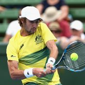 Jordan Thompson enjoyed a dream Davis Cup debut, winning both his matches. Photo: Getty Images