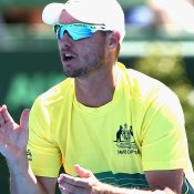 Lleyton Hewitt guided his team to a perfect start as the Aussies took a 2-0 lead  after Day One. Photo: Getty Images