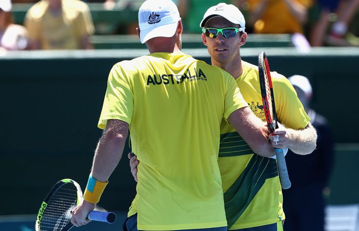 Peers and Groth celebrate the 6-3 6-2 6-2 win. Photo: Getty Images