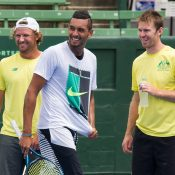 Matt Reid, Nick Kyrgios and John Peers during Wednesday practice. Photo: Elizabeth Xue Bai