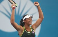 Destanee Aiava celebrates her win over Bethanie Mattek-Sands in the first round of the Brisbane International; Getty Images