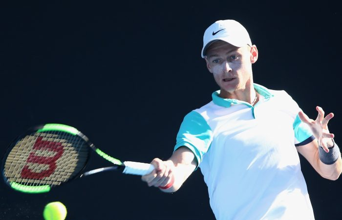 Blake Mott of Australia plays a forehand during his victory at Melbourne Park.