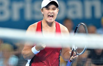 Ash Barty celebrates her first victory at the Brisbane International since 2014; Getty Images