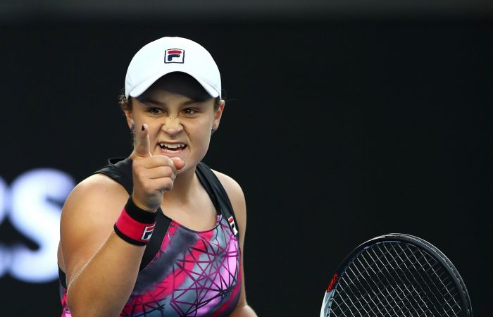 Ashleigh Barty of Australia celebrates winning her second round match against Shelby Rogers.