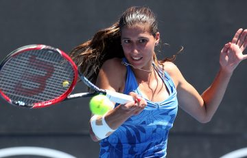 Jaimee Fourlis in action during her first-round victory over Anna Tatishvili at Australian Open 2017; Getty Images