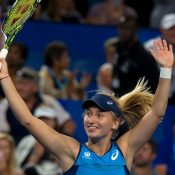 Daria Gavrilova celebrates her victory against Coco Vandeweghe at the Hopman Cup in Perth.